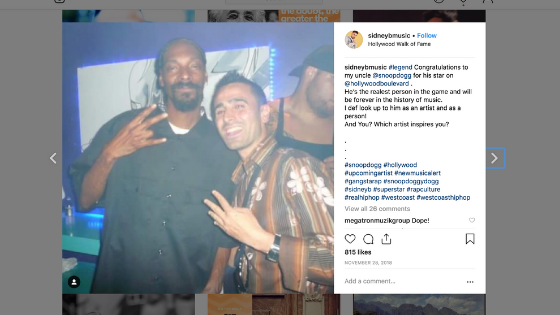 Sidney B and Snoop Dogg Instagram